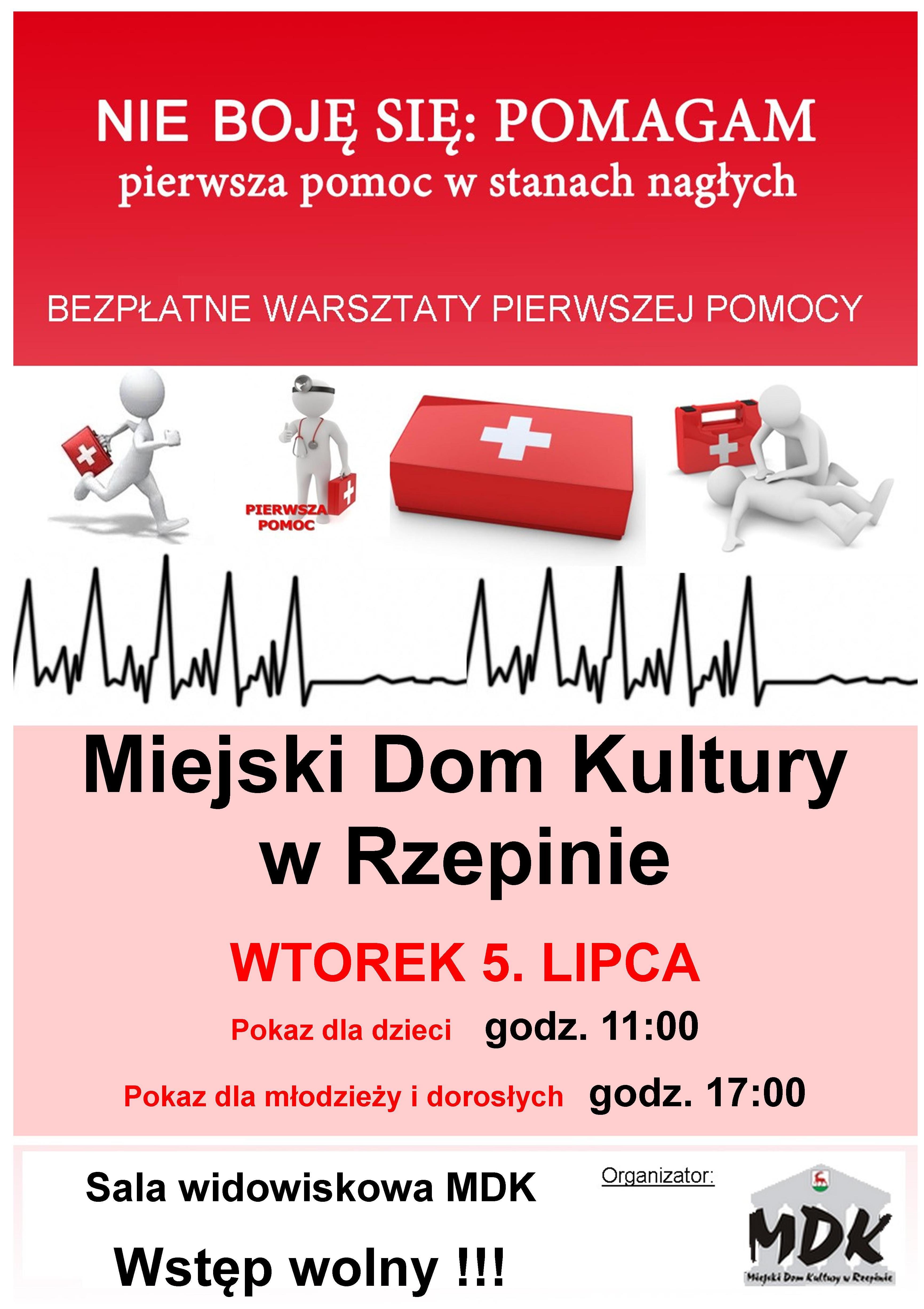 Ilustracja do informacji: Bezpłatne warsztaty pierwszej pomocy w Miejskim Domu Kultury w Rzepinie.