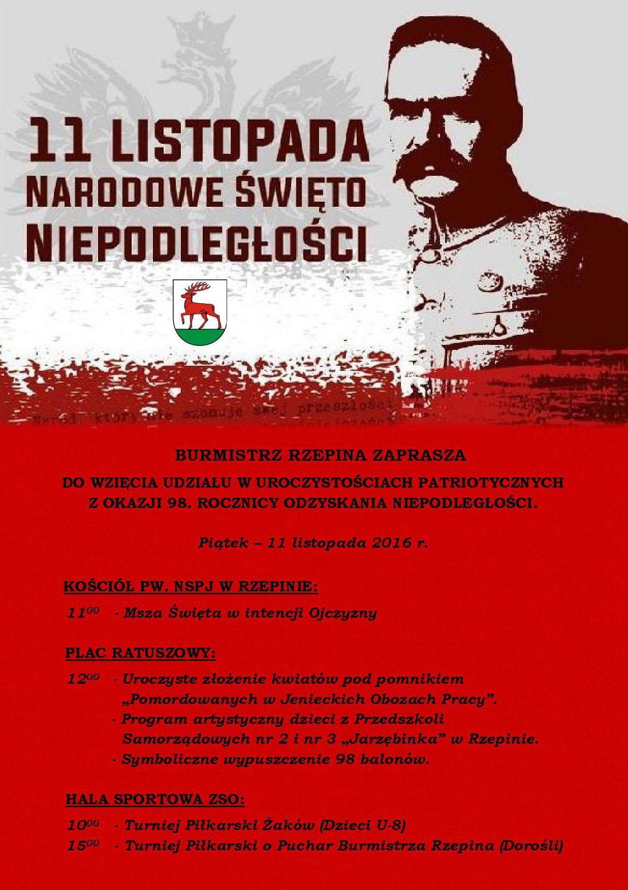 Ilustracja do informacji: Burmistrz Rzepina zaprasza na obchody Narodowego Święta Niepodległości.