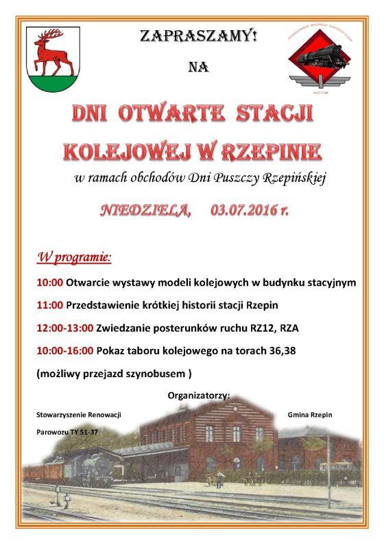 Ilustracja do informacji: Zapraszamy na Dzień Otwarty Stacji Kolejowej w Rzepinie!