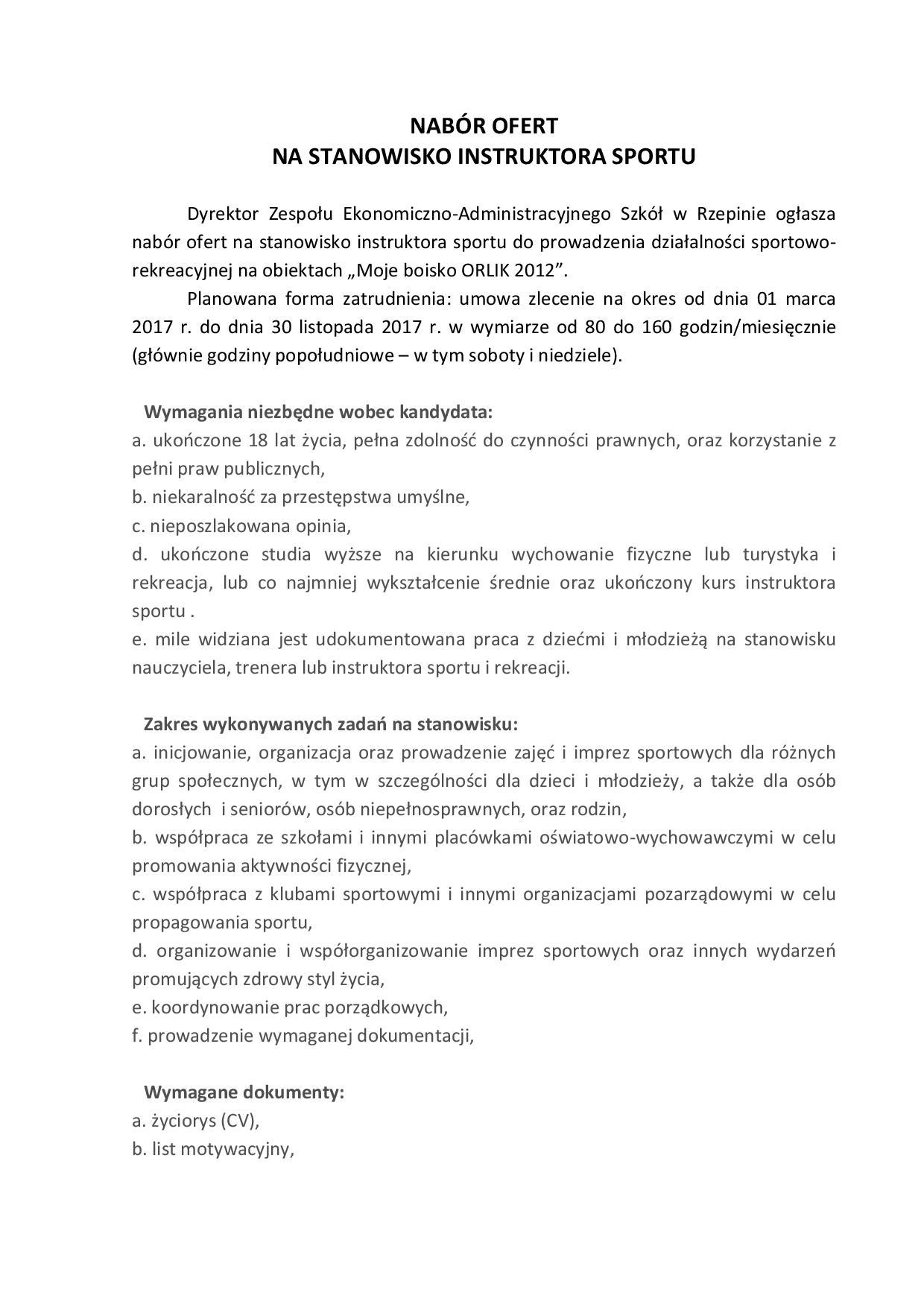 Ilustracja do informacji: NABÓR OFERT NA STANOWISKO INSTRUKTORA SPORTU