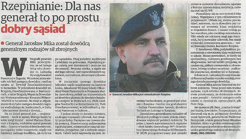 Ilustracja do informacji: Mieszkańcy Rzepina są dumni ze swojego Generała!