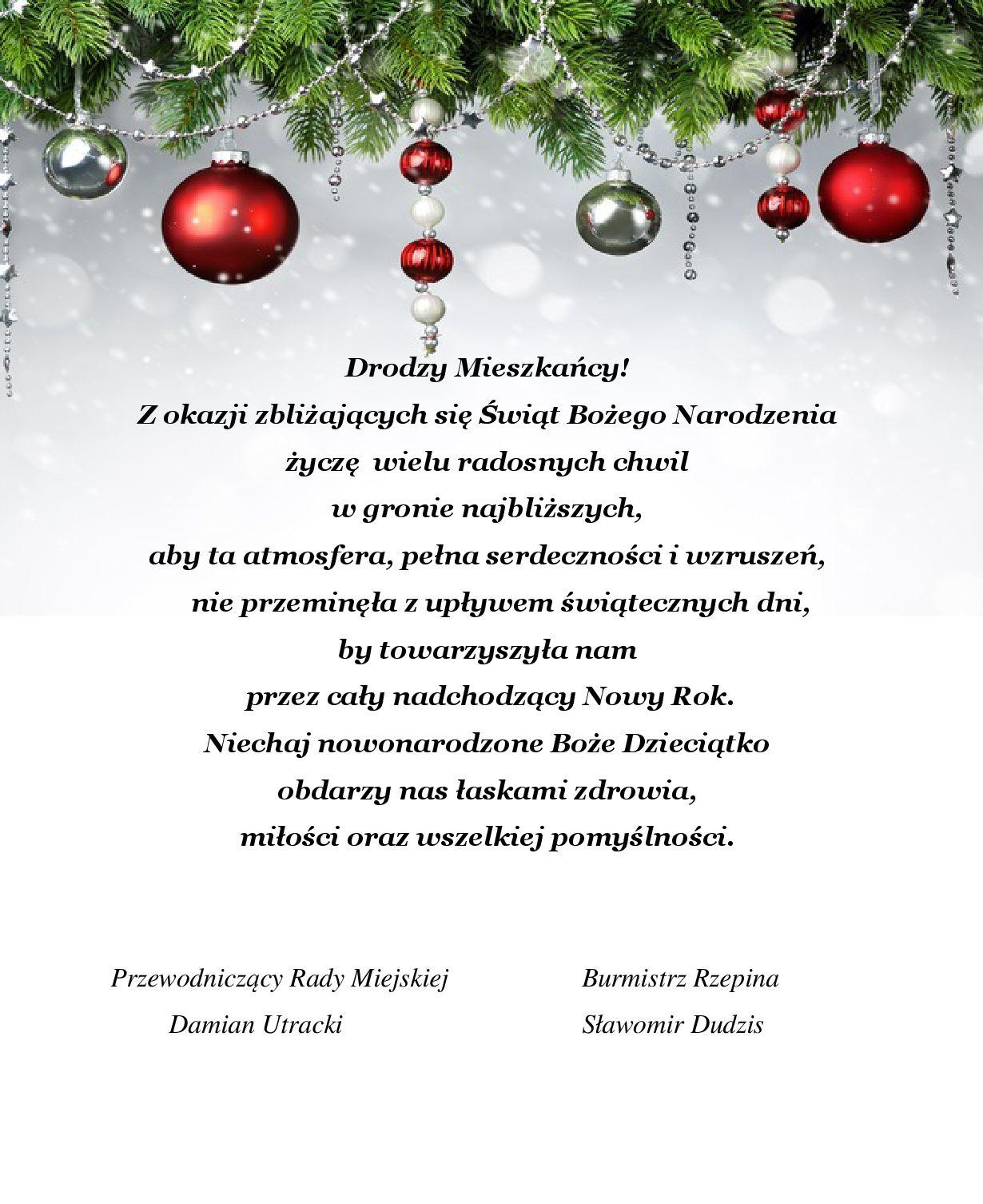 Ilustracja do informacji: Życzenia świąteczne dla Mieszkańców Gminy Rzepin