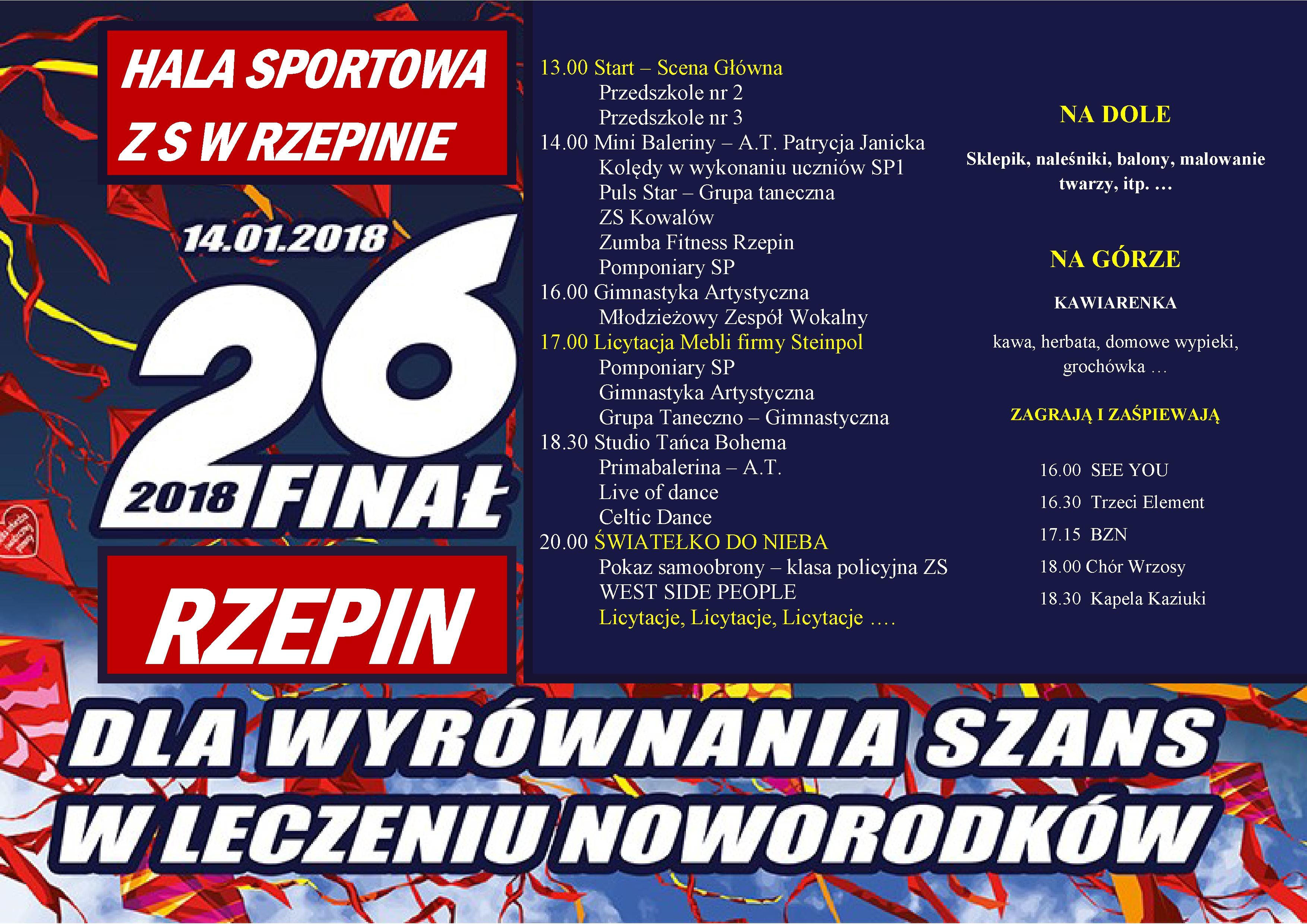 Ilustracja do informacji: Zapraszamy na 26. Finał Wielkiej Orkiestry Świątecznej Pomocy w Rzepinie!
