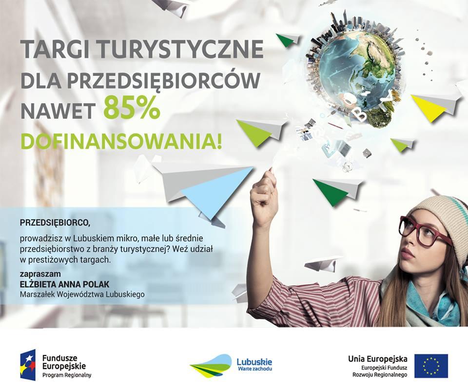 Ilustracja do informacji: Targi turystyczne dla przedsiębiorców z dużym dofinansowaniem w ramach projektu realizowanego przez Urząd Marszałkowski Województwa Lubuskiego!