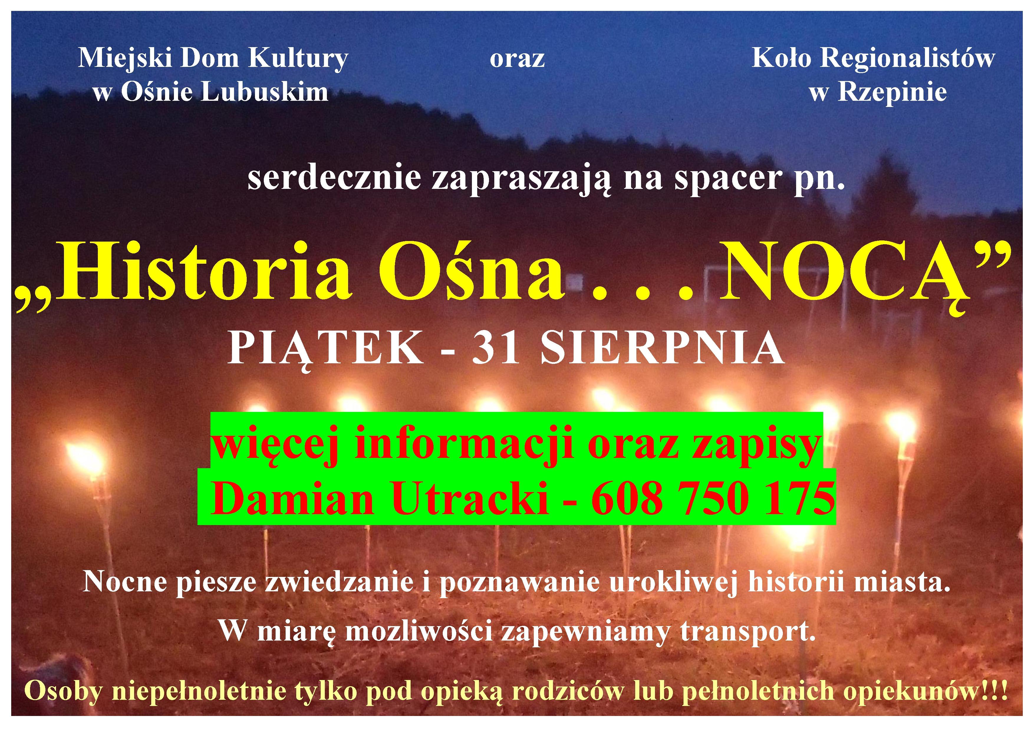 Ilustracja do informacji: Historia Ośna...nocą...