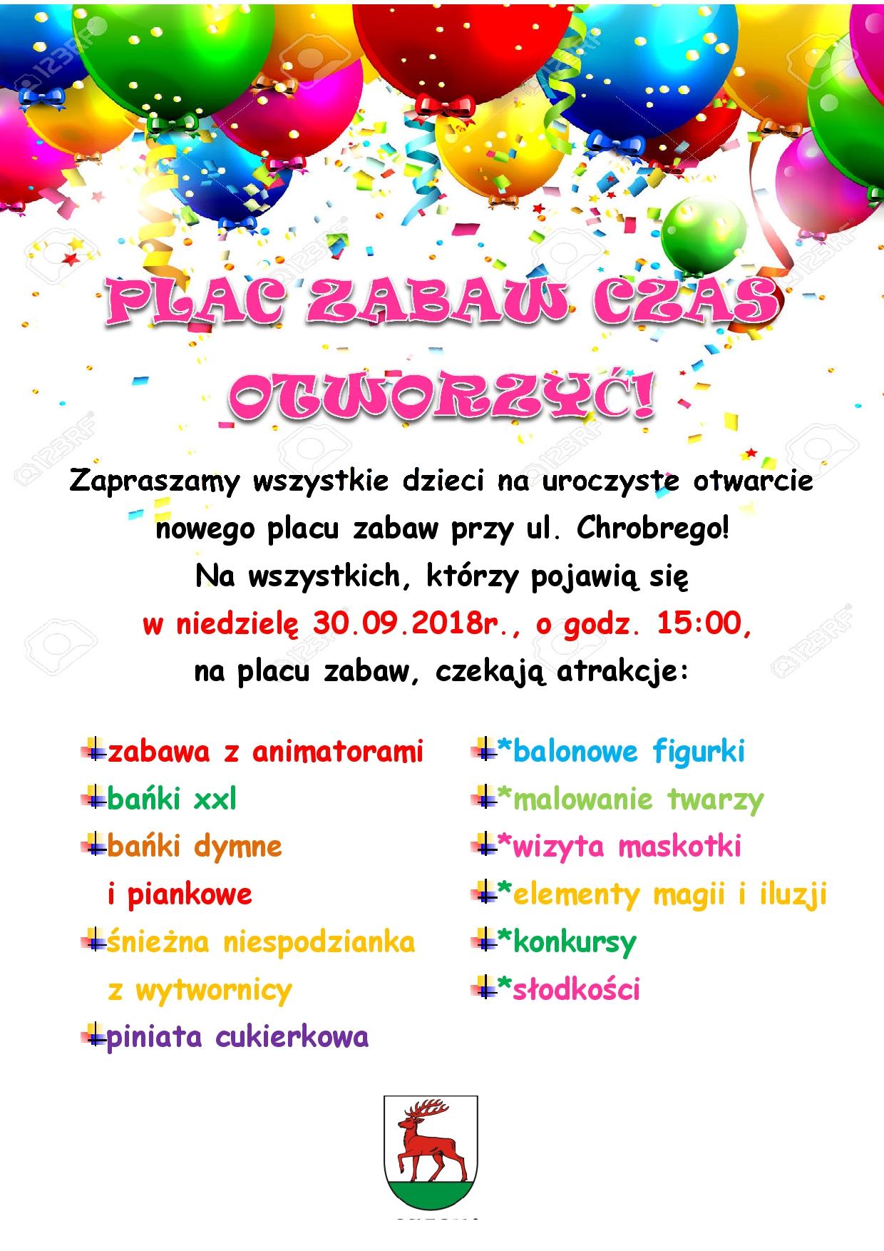 Ilustracja do informacji: Zapraszamy na otwarcie placu zabaw przy ul. Chrobrego!