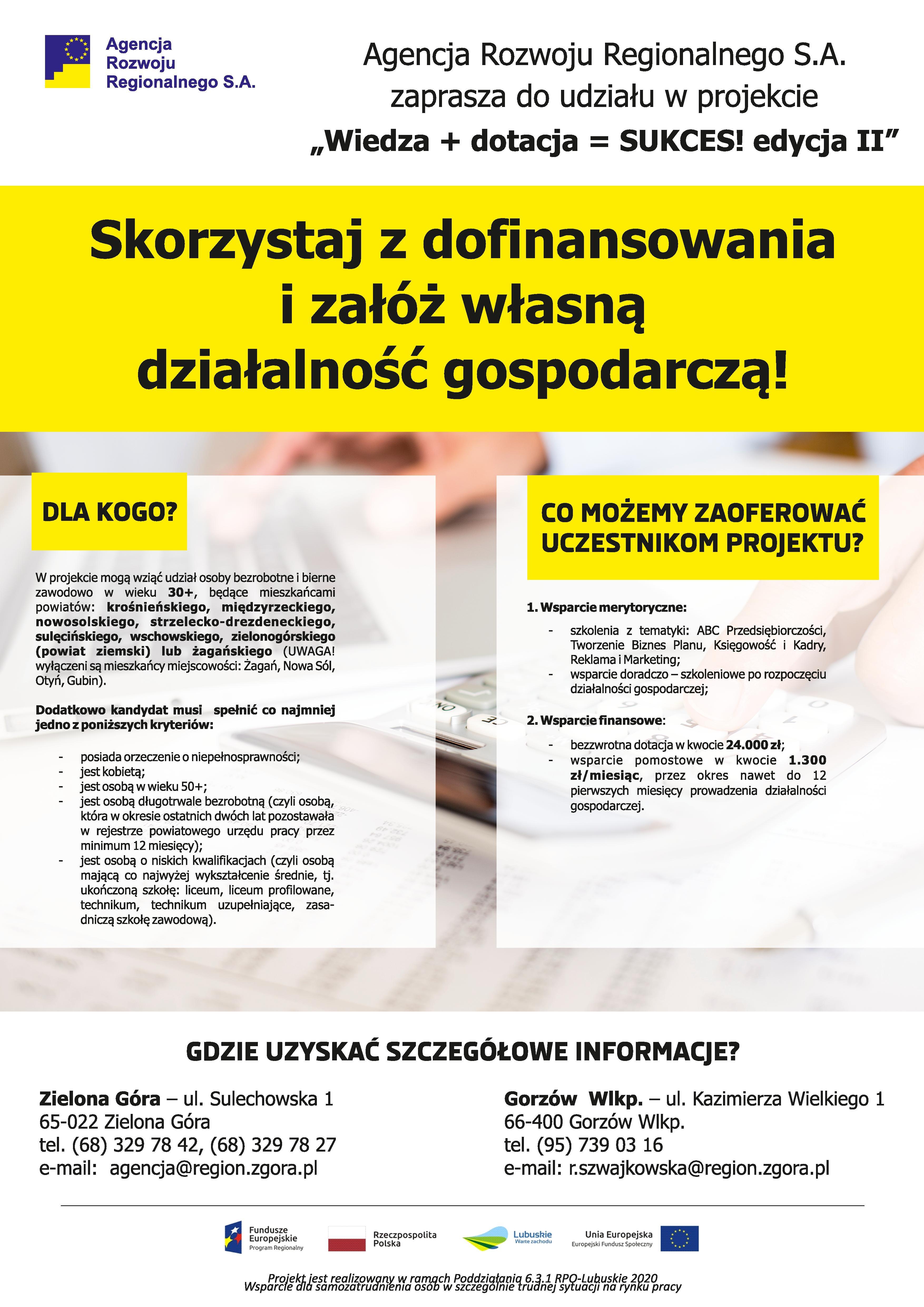 Ilustracja do informacji: WIEDZA+DOTACJA=SUKCES! Dotacje na podjęcie działalności gospodarczej.