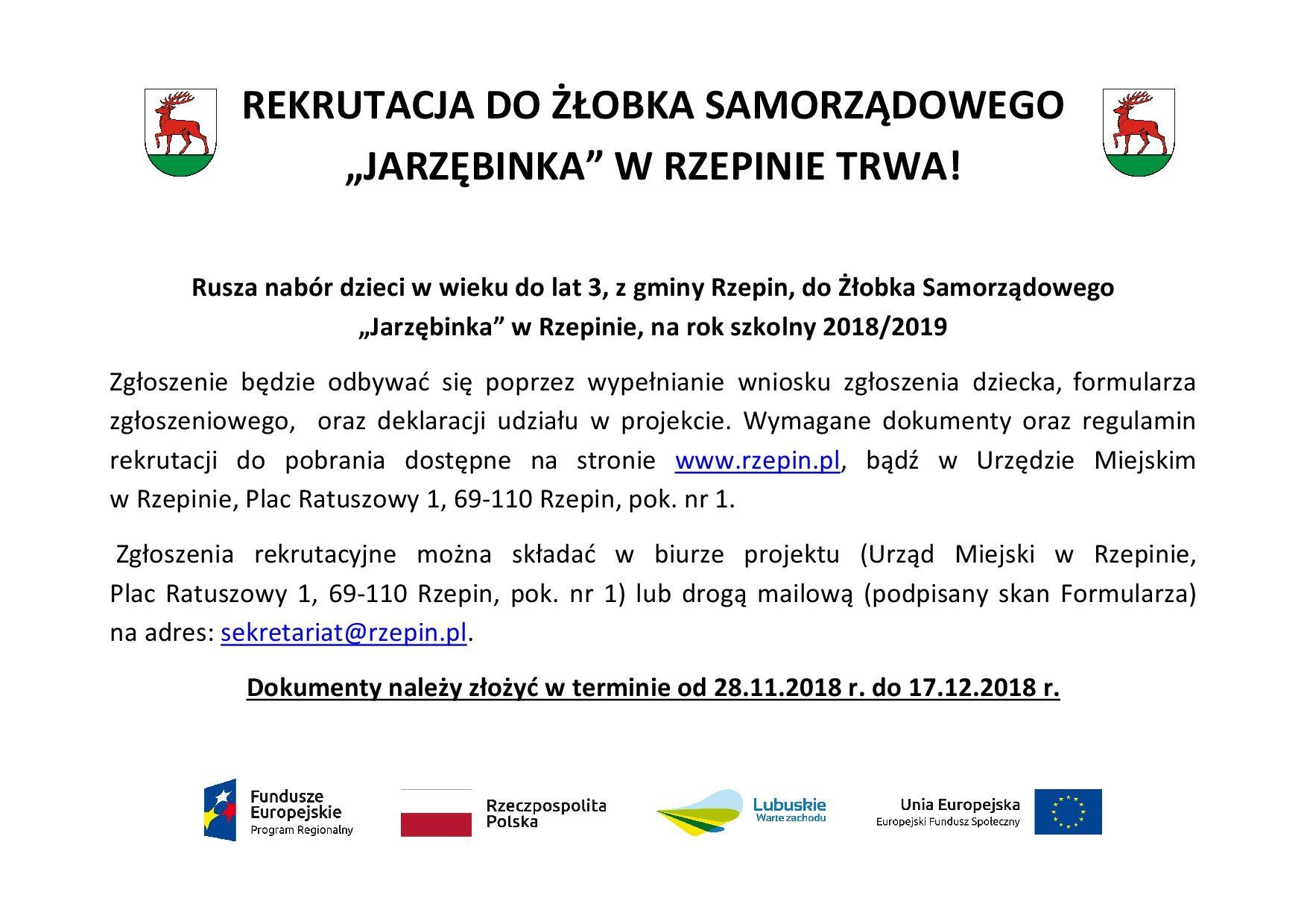 """Ilustracja do informacji: Rekrutacja do Żłobka Samorządowego """"Jarzębinka"""" w Rzepinie trwa!"""