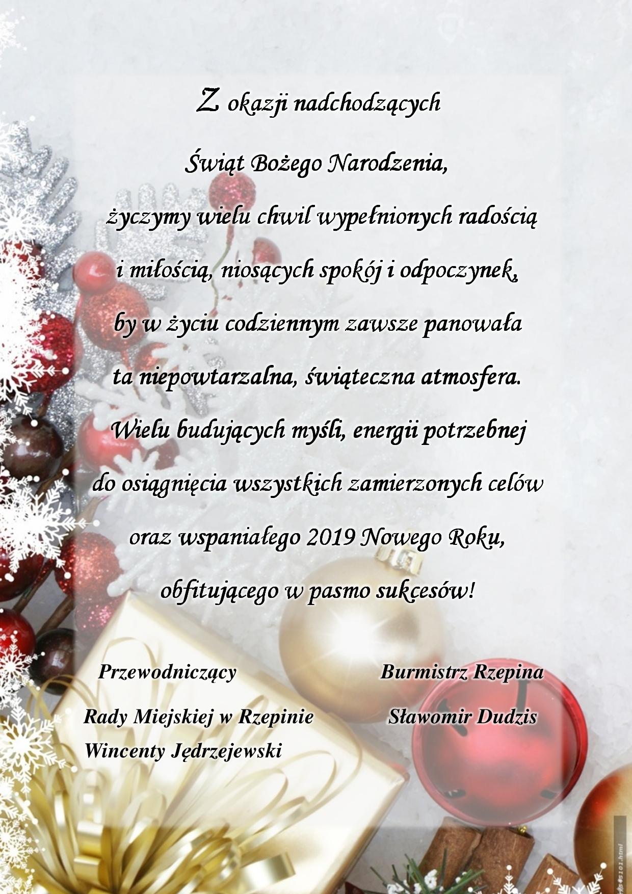 Ilustracja do informacji: Świąteczne życzenia Burmistrza Rzepina dla Mieszkańców gminy.