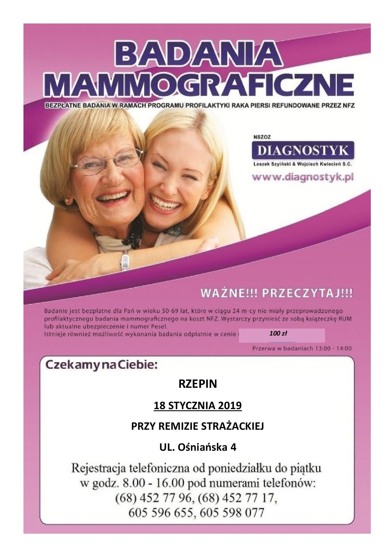 Ilustracja do informacji: Zapraszamy na badania mammograficzne.