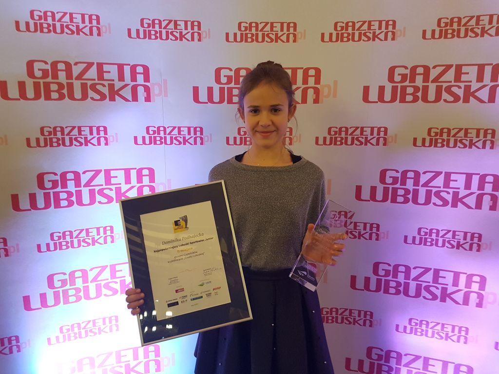 Ilustracja do informacji: Dominika Podhajecka podwójnie wyróżniona w plebiscycie Gazety Lubuskiej na najpopularniejszego sportowca juniora!