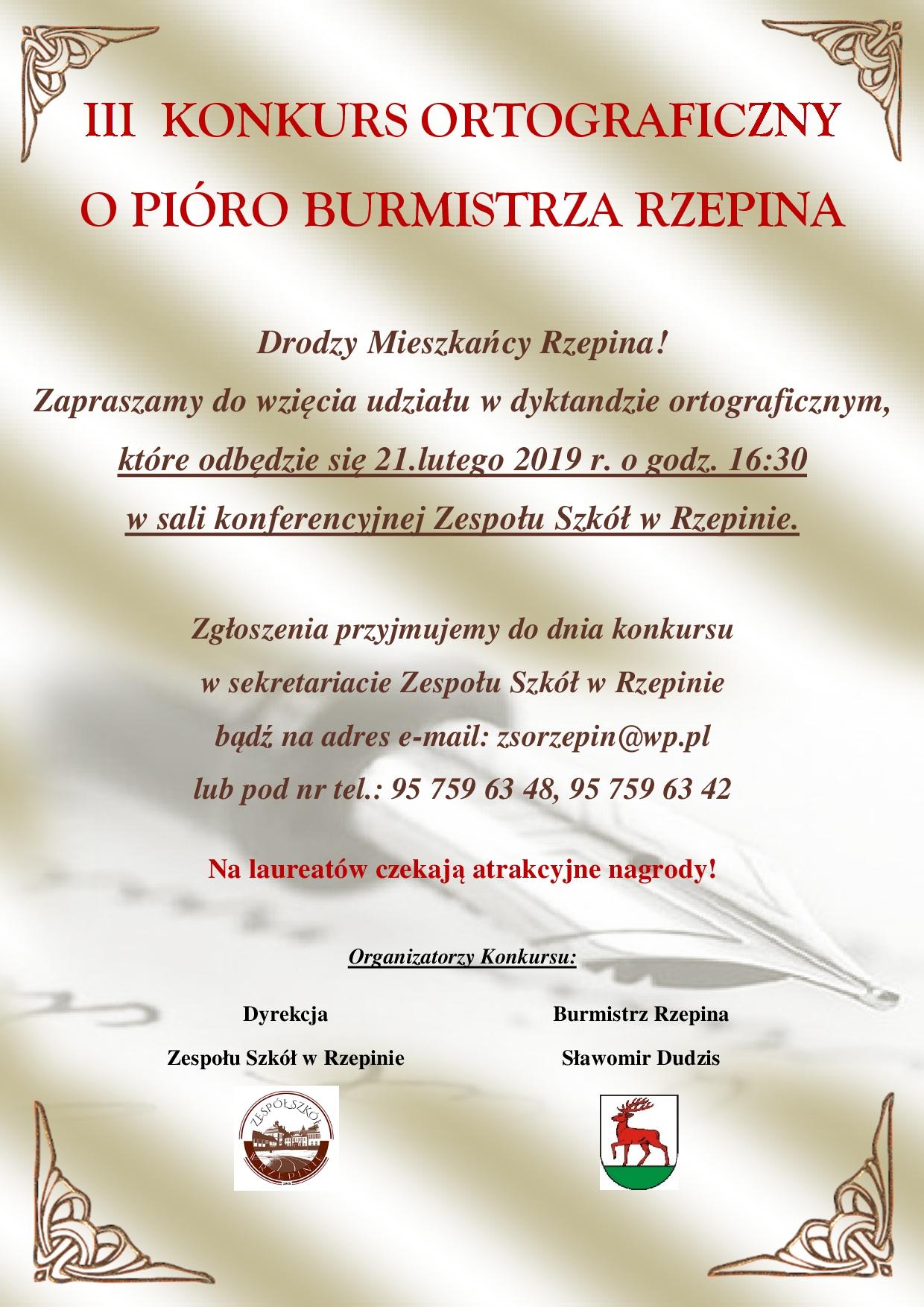 """Ilustracja do informacji: Zapraszamy do wzięcia udziału w """"III KONKURSIE ORTOGRAFICZNYM O PIÓRO BURMISTRZA RZEPINA""""!"""