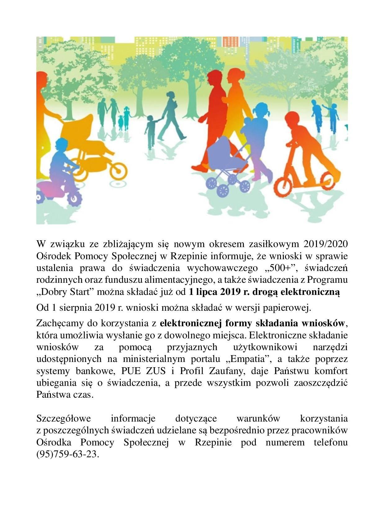Ilustracja do informacji: Informacja Ośrodka Pomocy Społecznej w Rzepinie - nowy okres zasiłkowy.