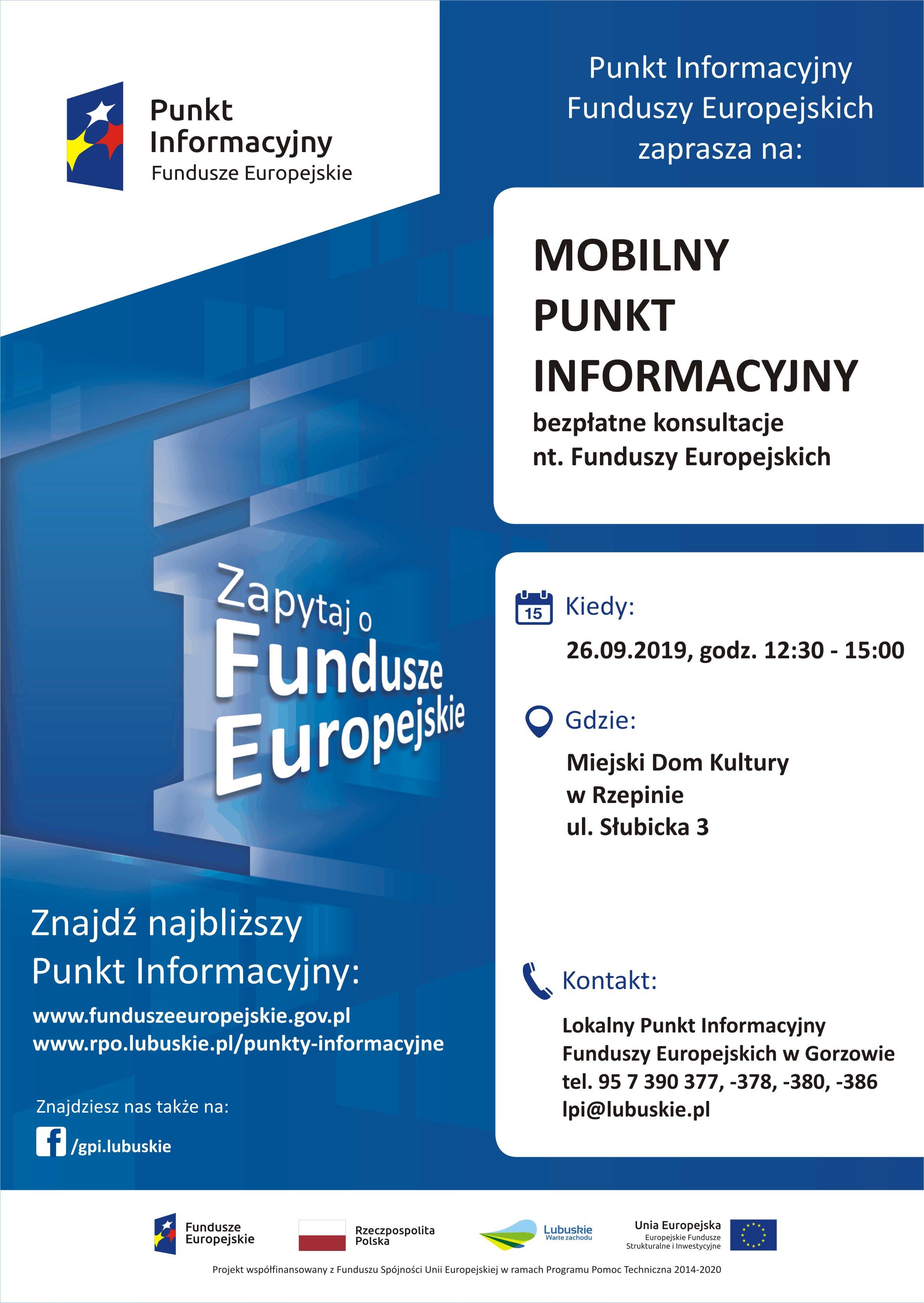 Ilustracja do informacji: Mobilny Punkt Informacyjny Funduszy Europejskich w Rzepinie
