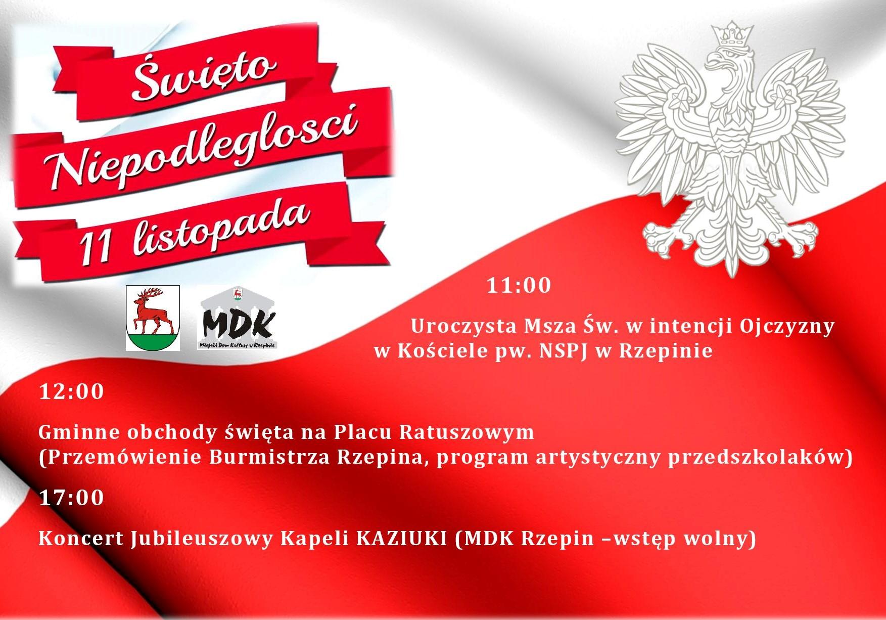 Ilustracja do informacji: Burmistrz Rzepina zaprasza na gminne obchody Święta Niepodległości!