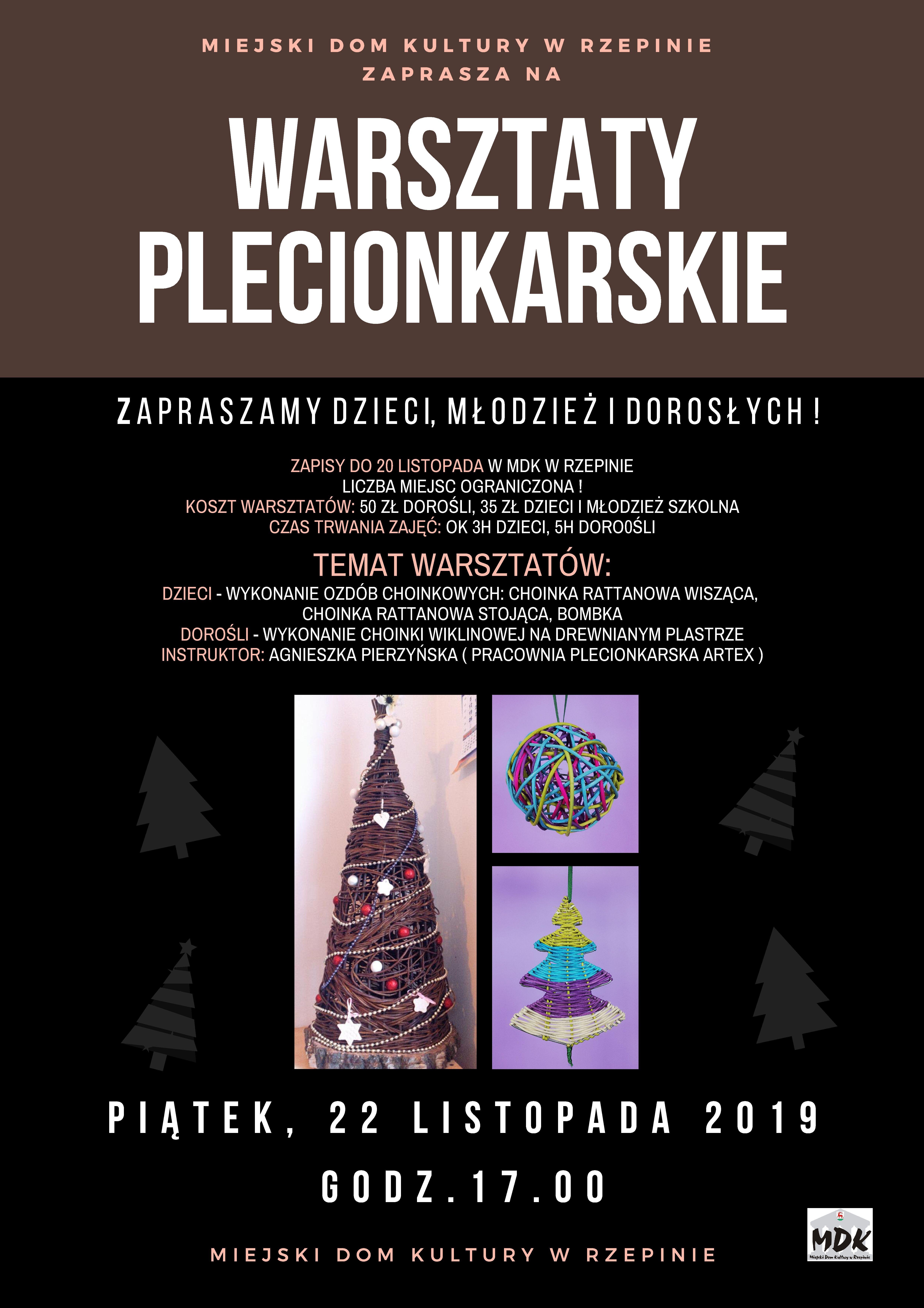 Ilustracja do informacji: Zapraszamy do MDK w Rzepinie na świąteczne warsztaty plecionkarskie!