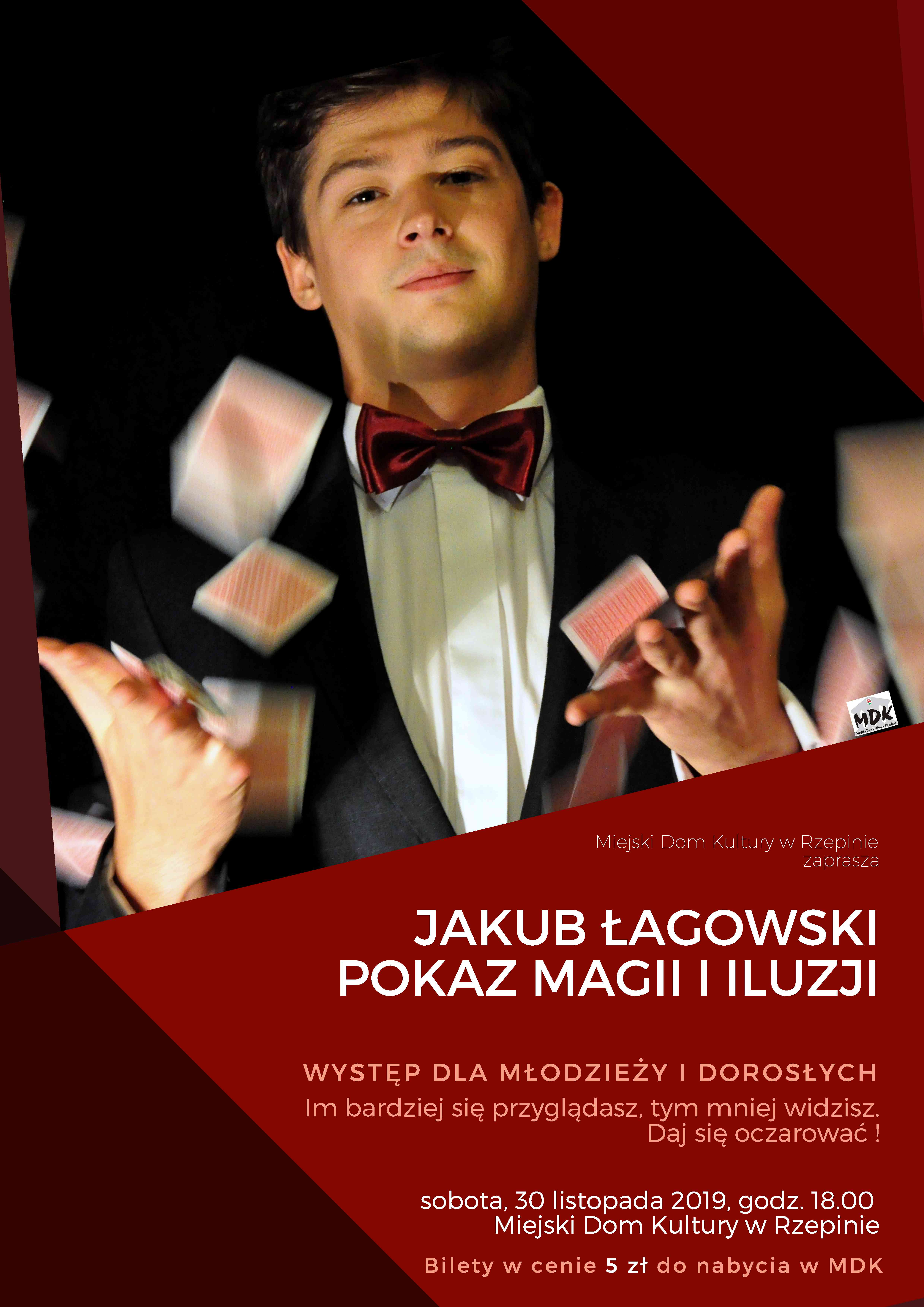 Ilustracja do informacji: Pokaz magii i iluzji w wykonaniu Jakuba Łagowskiego!