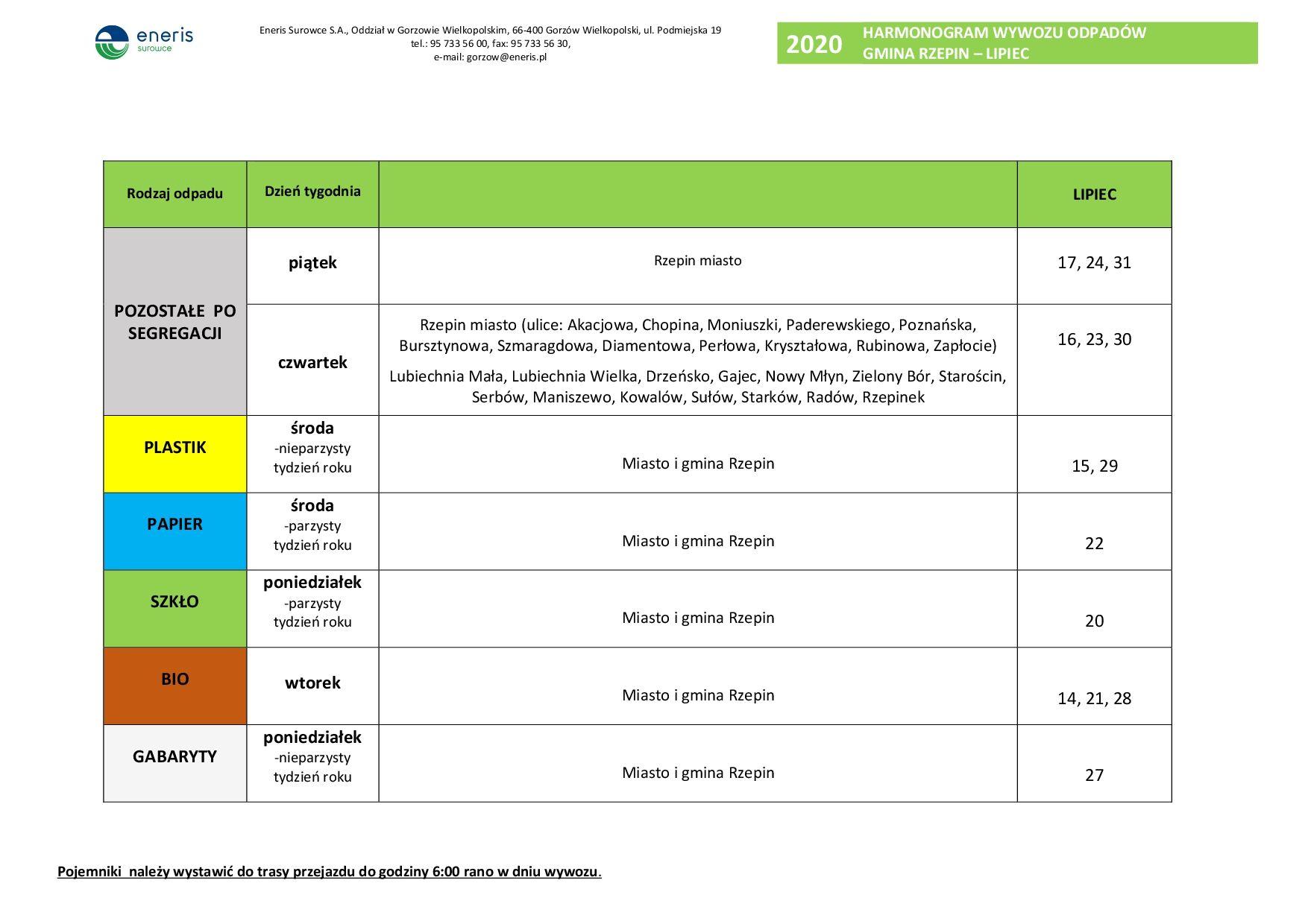 Ilustracja do informacji: Harmonogram wywozu odbioru odpadów z terenu miasta i gminy Rzepin - lipiec 2020