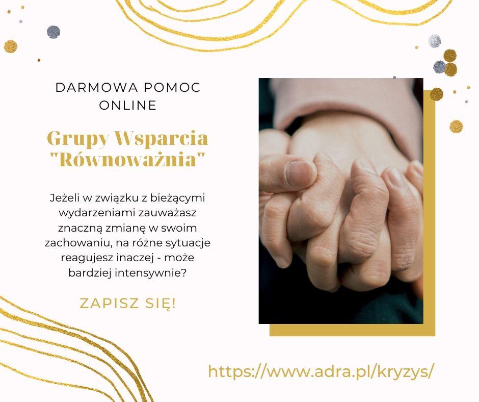 """Ilustracja do informacji: Informacja o projekcie Fundacji ADRA - Grupy Wsparcia Online """"Równoważnia"""""""