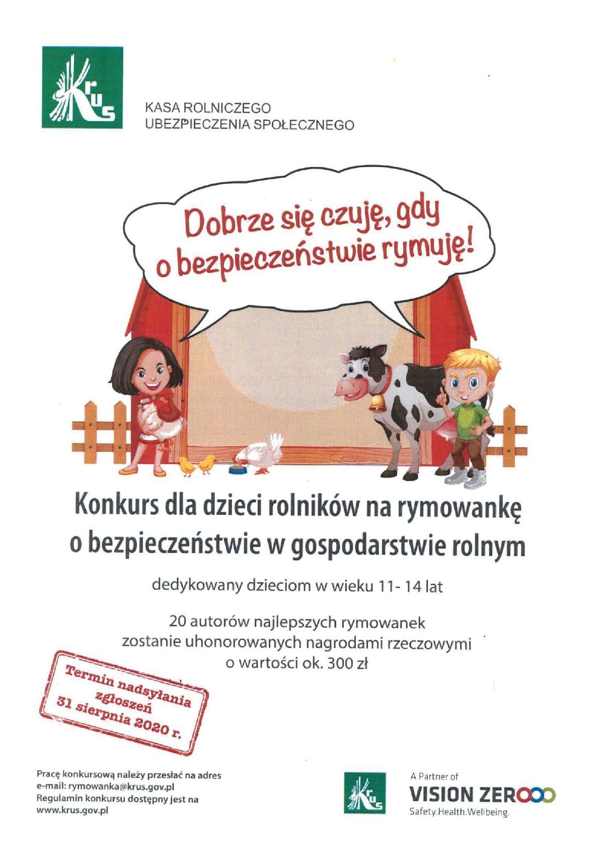Ilustracja do informacji: Konkurs dla dzieci na rymowankę o bezpieczeństwie w gospodarstwie rolnym