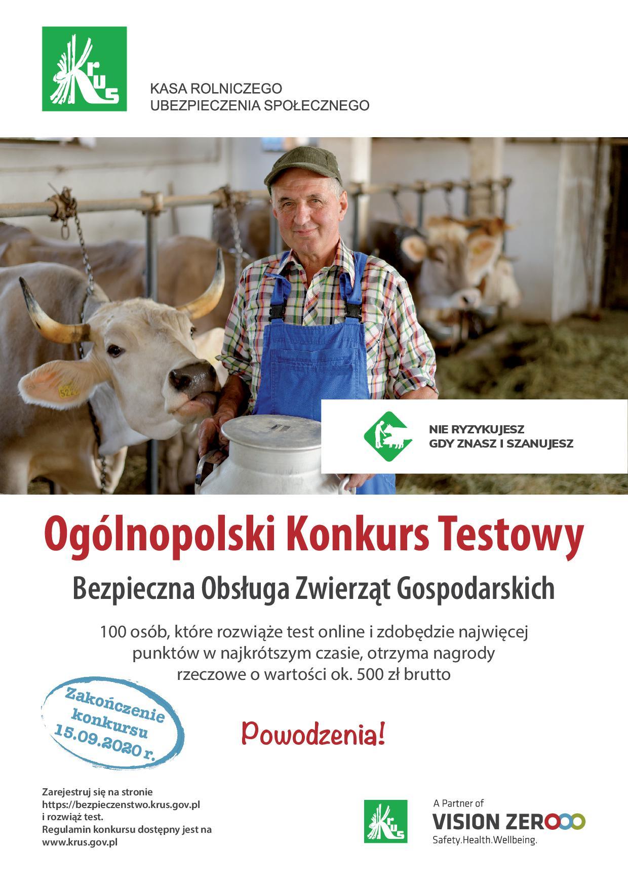 """Ilustracja do informacji: """"Ogólnopolski Konkurs Testowy z zakresu bezpieczeństwa pracy w gospodarstwie rolnym"""""""